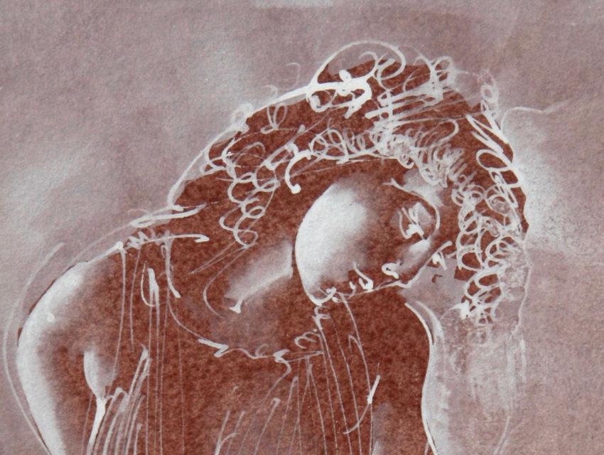 """Hans Erni: Ausschnitt aus """"Einsame im Pliseekleid"""". Tempera auf Papier (41.5 x 20.5 cm). 1993. Aus Privatsammlung (Schweiz)."""