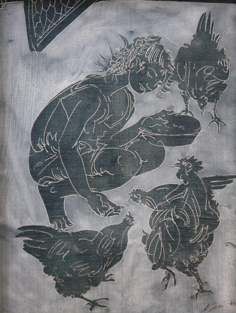 """Hans Erni: """"Mädchen im Hühnerhof"""". Tempera auf Papier (32.7 x 25.2 cm). 1984. Aus Privatsammlung (Schweiz)."""