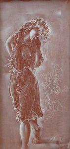 """Hans Erni: """"Einsame im Plisseekleid"""". Tempera on paper (41.5 x 20.5 cm). 1993. From private collection (Switzerland)."""