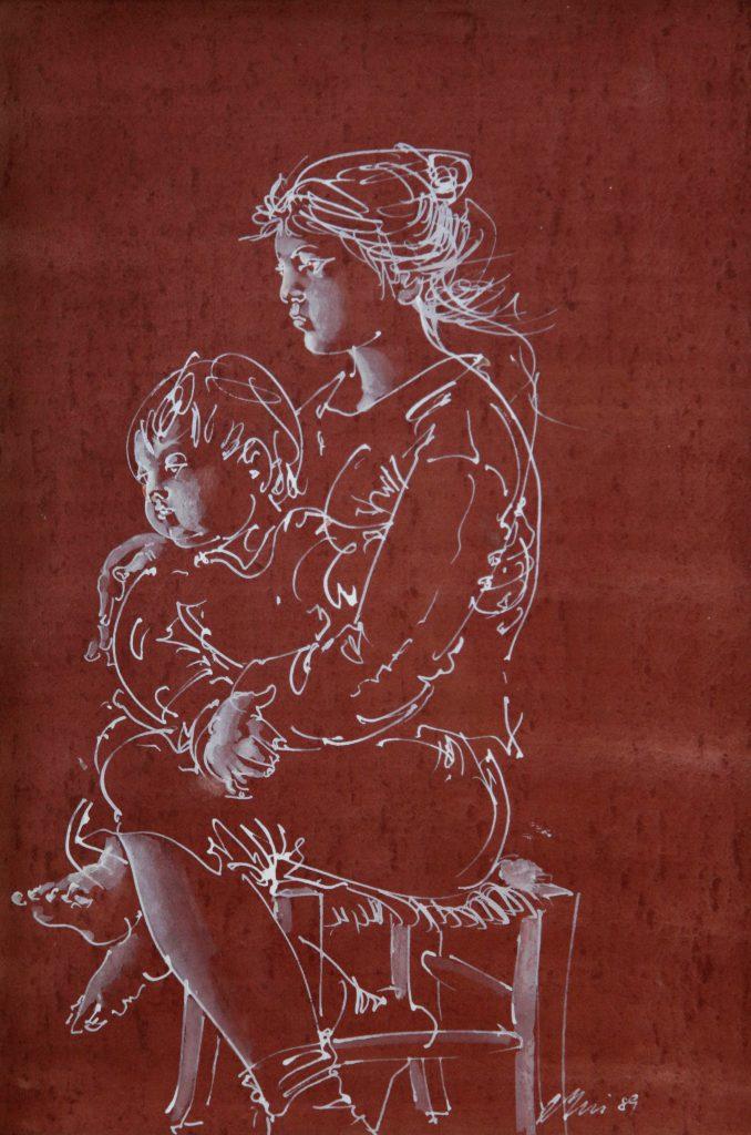 """Hans Erni: """"Mutter mit Kind auf Schemel"""". Tempera auf Papier (32.8 x 22 cm). 1989. Aus Privatsammlung (Schweiz)."""