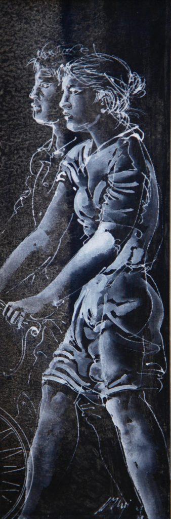 """Hans Erni: """"Paar mit Velo"""". Tempera auf Papier (9 x 27 cm). 1988. Aus Privatsammlung (Schweiz)."""