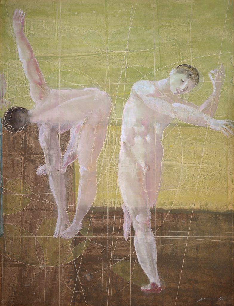 """Hans Erni: """"Zwei Athleten"""" (ursprünglich ohne Titel). Tempera auf Papier (100 x 77 cm). 1950. Aus Privatsammlung (Schweiz)."""