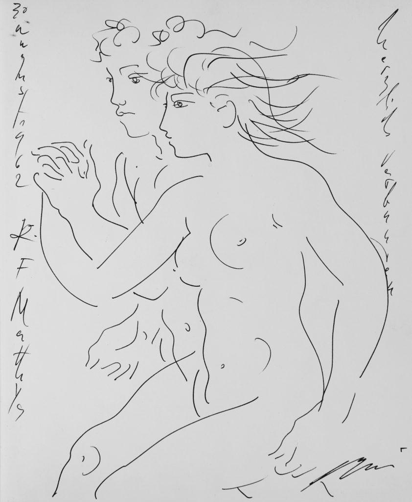 """Hans Erni: Typische Gefälligkeitszeichnung, hier auf dem Frontispiz einer Ausgabe des Buchs """"Erni - Elemente zu einer künftigen Malerei"""" von Frank C. Thiessing. 1962. Aus Privatsammlung (Schweiz)."""