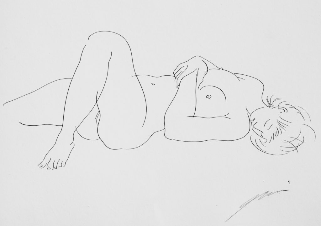 """Hans Erni: """"Coquette vive passionnée"""". From """"Sommes-nous deux ou suis-je solitaire?"""". Original drawing on mould made paper (22 x 28 cm). 1959. From private collection (Switzerland)."""