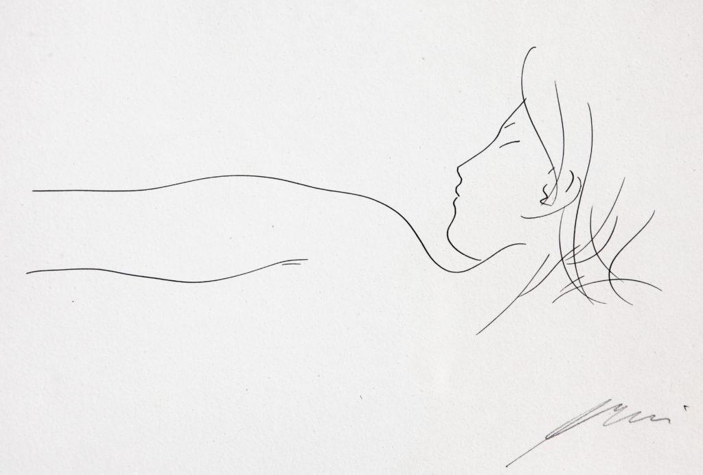 """Hans Erni: """"Profonde oblique matinale"""". Aus """"Sommes-nous deux ou suis-je solitaire?"""". Originalzeichnung auf Büttenpapier (22 x 28 cm). 1959. Aus Privatsammlung (Schweiz)."""
