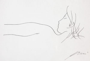 """Hans Erni: """"Profonde oblique matinale"""". From """"Sommes-nous deux ou suis-je solitaire?"""". Original drawing on mould made paper (22 x 28 cm). 1959. From private collection (Switzerland)."""