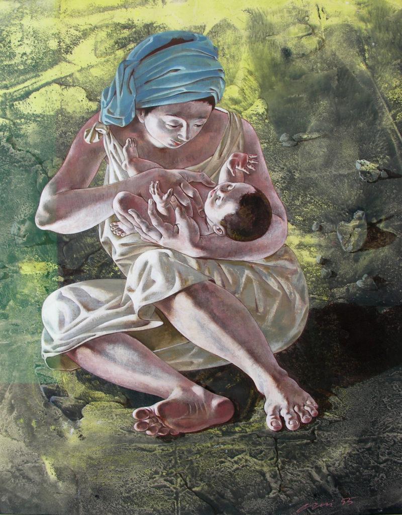 """Hans Erni: """"Maria und Jesus"""". Tempera auf Papier (42 x 53 cm). 1955. Aus Privatsammlung (Schweiz)."""