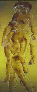 """Hans Erni: """"Paar auf hellgrünem Grund"""". Tempera on Paper (16 x 37 cm). 1988. From private collection (Switzerland)."""