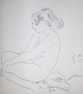 "Hans Erni: ""Sitzendes Mädchen"" (originally untitled). Ink on paper (24 x 28 cm). 1955. From private collection (Switzerland)."