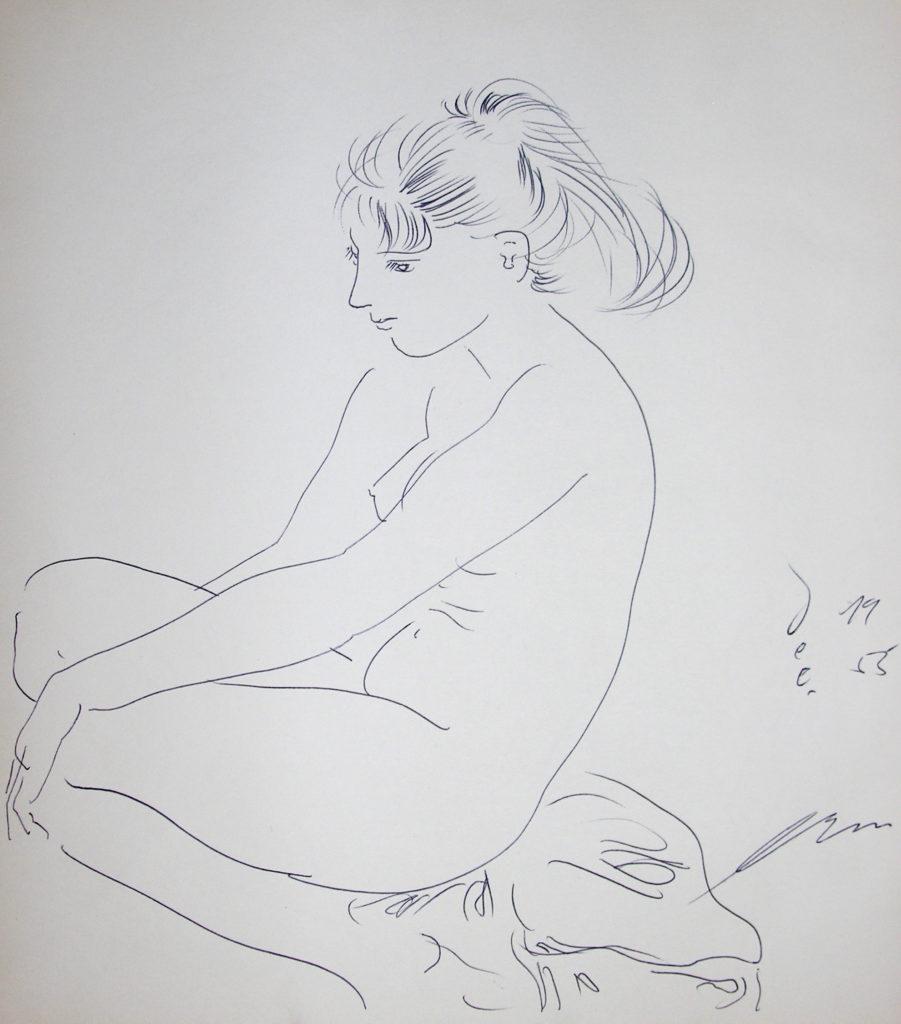 """Hans Erni: """"Sitzendes Mädchen"""" (ursprünglich ohne Titel). Tusche auf Papier (24 x 28 cm). 1955. Aus Privatsammlung (Schweiz)."""