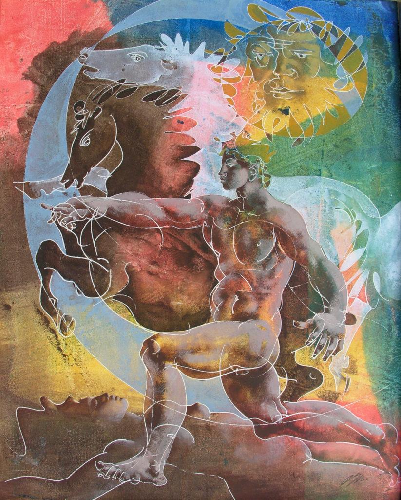 """Hans Erni: """"Gespann Apoll"""". Tempera auf Papier (46 x 57 cm). 1967. Aus Privatsammlung (Schweiz)."""