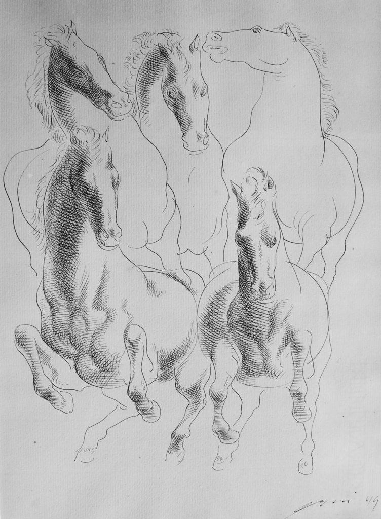 """Hans Erni: """"Vier Pferde"""". Tusche auf Papier (27 x 37 cm). 1949. Aus Privatsammlung (Schweiz)."""