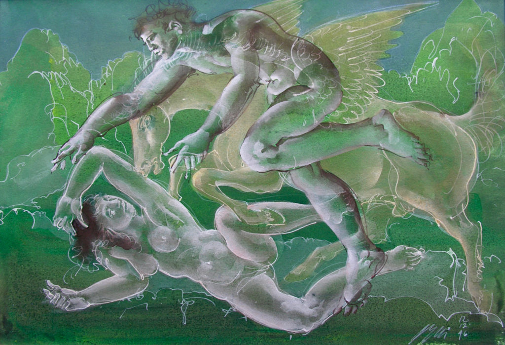 "Hans Erni: ""Paar mit Pegasus"". Tempera on Rives Paper (26 x 37.5 cm). 1996. From private collection (Switzerland)."