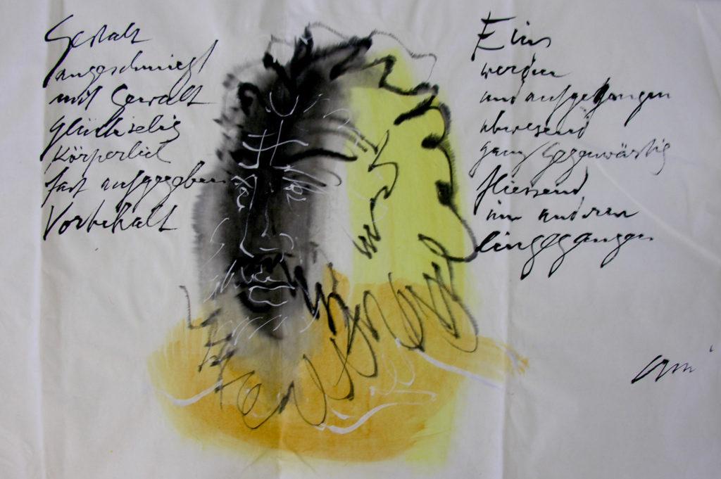 Hans Erni: Weihnachtsbrief an seine Schwester Berti mit Gedicht, Teil 3. Aquarell und Tusche auf Papier (total 137 x 35 cm). 1963. Aus Privatsammlung (Schweiz).