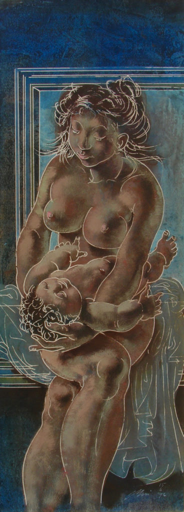 "Hans Erni: ""Mutter mit Kind"". Tempera on Paper (21 x 57 cm). 1976. From private collection (Switzerland)."