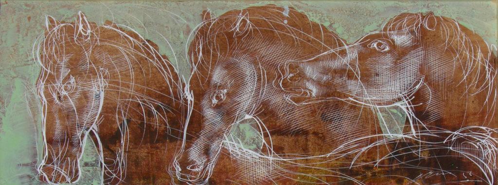"""Hans Erni: """"Drei Pferde in Mint"""". Tempera auf Papier (15 x 39 cm). 1956. Aus Privatsammlung (Schweiz)."""