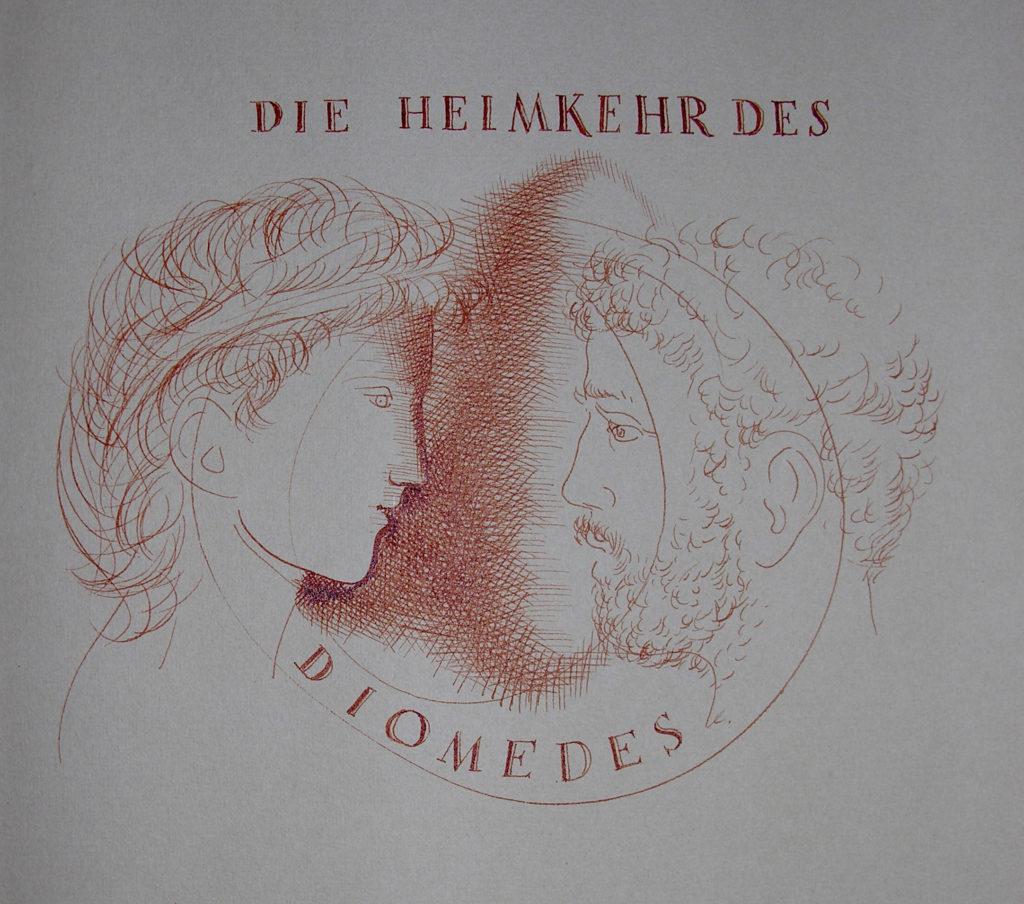 Hans Erni: Die Heimkehr des Diomedes, Titelzeichnung. Illustration aus einem Buch von Sigfried Trebitsch. Rötel auf Papier (33.5 x 25.5 cm). 1949. Aus Privatsammlung (Schweiz).