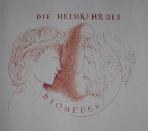 Hans Erni: Die Heimkehr des Diomedes, title drawing. Illustrating a book by Sigfried Trebitsch. Ink on Paper (33.5 x 25.5 cm). 1949. From private collection (Switzerland).