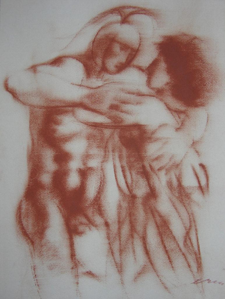 Hans Erni: Die Heimkehr des Diomedes, Zeichnung 1. Illustration aus einem Buch von Sigfried Trebitsch. Rötel auf Papier (33.5 x 25.5 cm). 1949. Aus Privatsammlung (Schweiz).