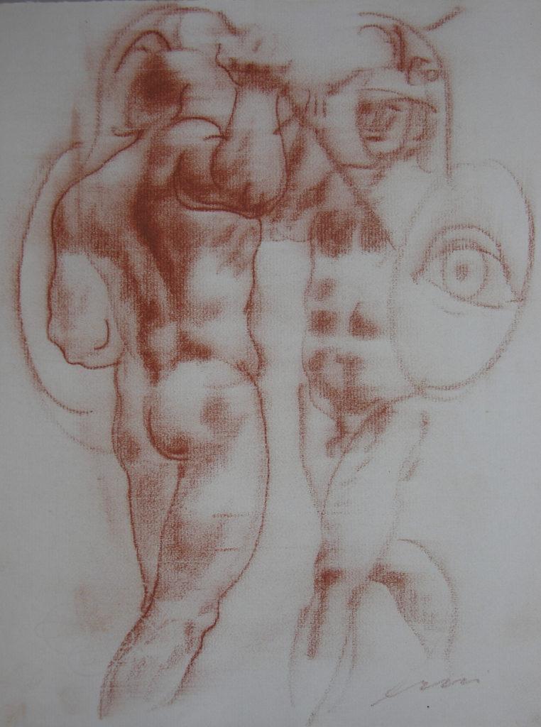 Hans Erni: Die Heimkehr des Diomedes, Zeichnung 2. Illustration aus einem Buch von Sigfried Trebitsch. Rötel auf Papier (33.5 x 25.5 cm). 1949. Aus Privatsammlung (Schweiz).