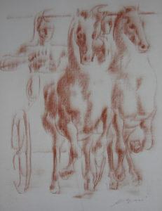 Hans Erni: Die Heimkehr des Diomedes, drawing 3. Illustrating a book by Sigfried Trebitsch. Sanguine on Paper (33.5 x 25.5 cm). 1949. From private collection (Switzerland).