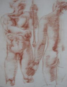 Hans Erni: Die Heimkehr des Diomedes, drawing 4. Illustrating a book by Sigfried Trebitsch. Sanguine on Paper (33.5 x 25.5 cm). 1949. From private collection (Switzerland).