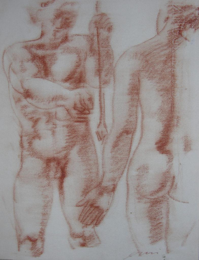Hans Erni: Die Heimkehr des Diomedes, Zeichnung 4. Illustration aus einem Buch von Sigfried Trebitsch. Rötel auf Papier (33.5 x 25.5 cm). 1949. Aus Privatsammlung (Schweiz).