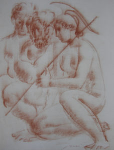 Hans Erni: Die Heimkehr des Diomedes, drawing 5. Illustrating a book by Sigfried Trebitsch. Sanguine on Paper (33.5 x 25.5 cm). 1949. From private collection (Switzerland).