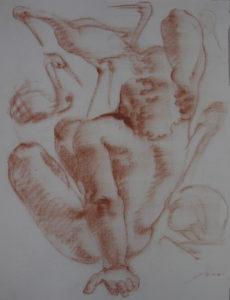 Hans Erni: Die Heimkehr des Diomedes, drawing 6. Illustrating a book by Sigfried Trebitsch. Sanguine on Paper (33.5 x 25.5 cm). 1949. From private collection (Switzerland).