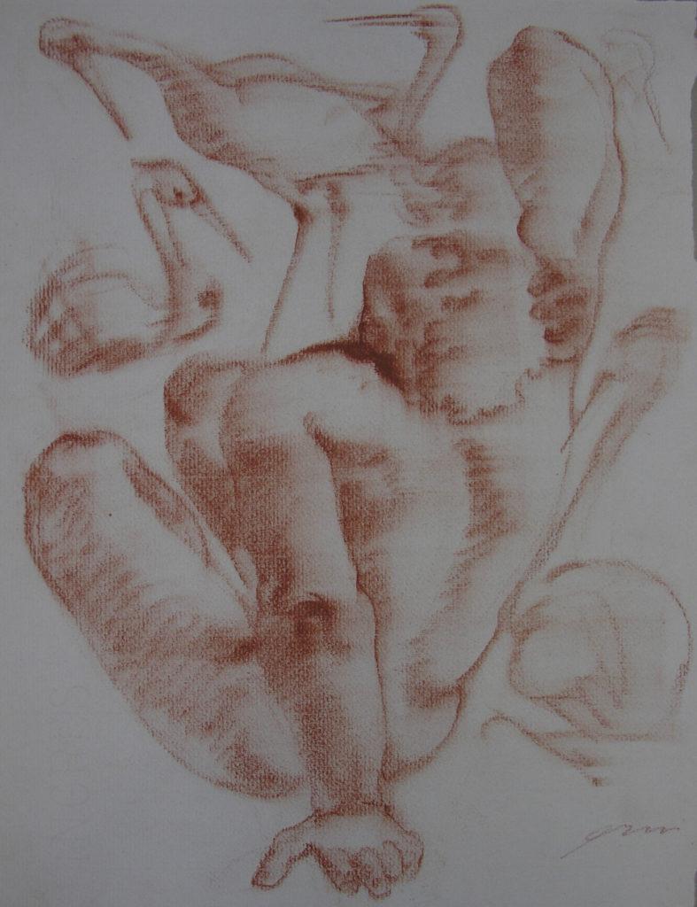 Hans Erni: Die Heimkehr des Diomedes, Zeichnung 6. Illustration aus einem Buch von Sigfried Trebitsch. Rötel auf Papier (33.5 x 25.5 cm). 1949. Aus Privatsammlung (Schweiz).