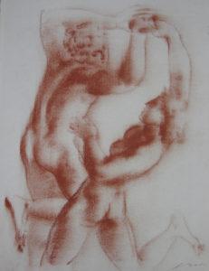 Hans Erni: Die Heimkehr des Diomedes, drawing 7. Illustrating a book by Sigfried Trebitsch. Sanguine on Paper (33.5 x 25.5 cm). 1949. From private collection (Switzerland).
