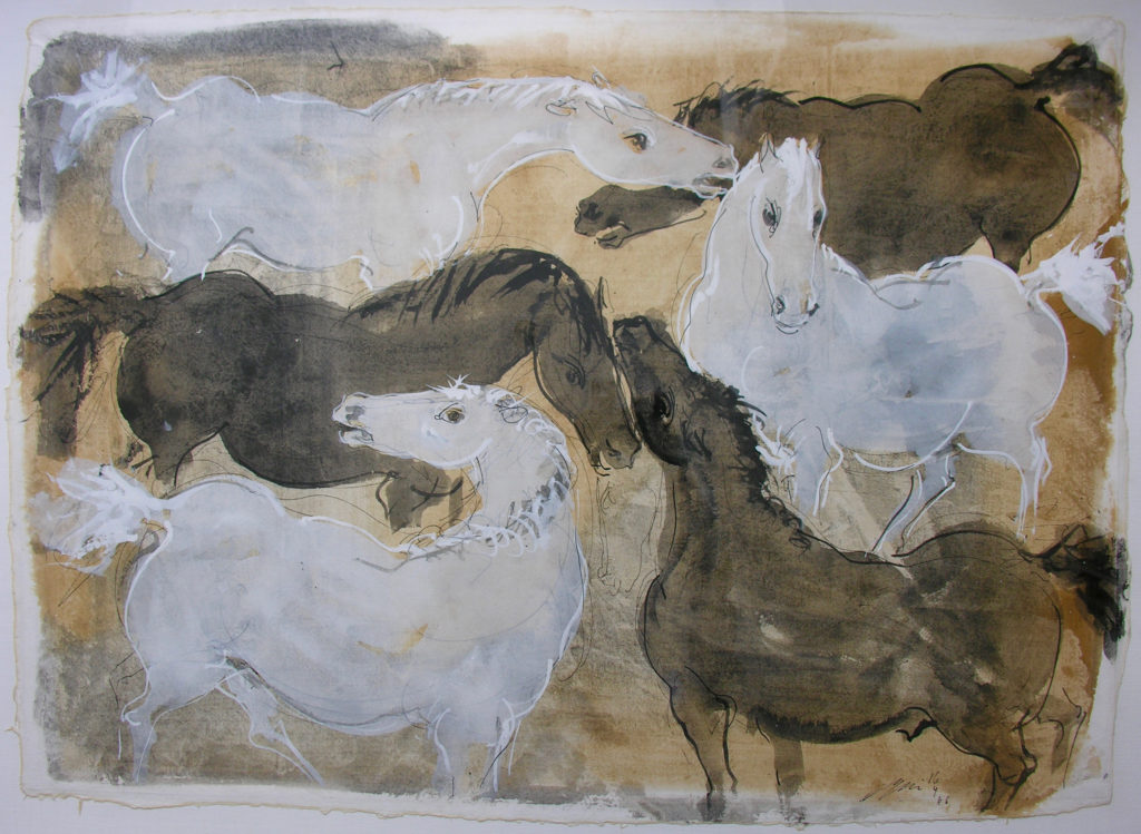 """Hans Erni: """"Drei Schimmel und drei Rappen"""". Tempera auf Japanpapier (93 x 67 cm). 1966. Aus Privatsammlung (Schweiz)."""