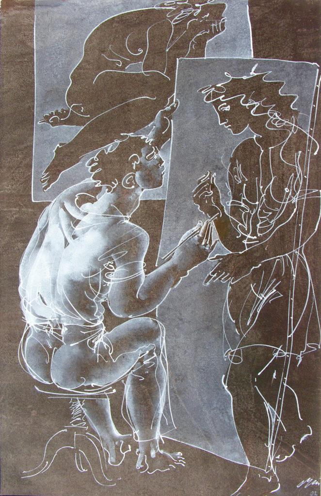 """Hans Erni: """"Der Maler und sein Modell"""". Tempera auf Papier (24 x 37 cm). 1992. Aus Privatsammlung (Schweiz)."""