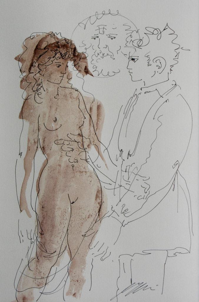 """Hans Erni: """"La patiente"""". Gefälligkeitszeichnung aus dem Buch """"Réflexions simples sur le corps"""" von Paul Valéry und Hans Erni. Tusche und Tempera auf Papier (41 x 31 cm). 1962. Aus Privatsammlung (Schweiz)."""