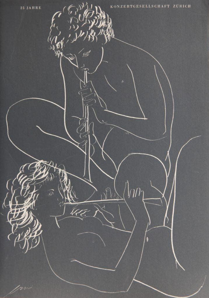 """Hans Erni: """"Flötenspieler"""". Lithografie (21 x 29.7 cm) zur Jubiläumsschrift 25 Jahre Konzertgesellschaft Zürich. 1952. Nr. 74 im Werkverzeichnis der Lithografien (Hans Erni-Stiftung, 1993). Aus Privatsammlung (Schweiz)."""