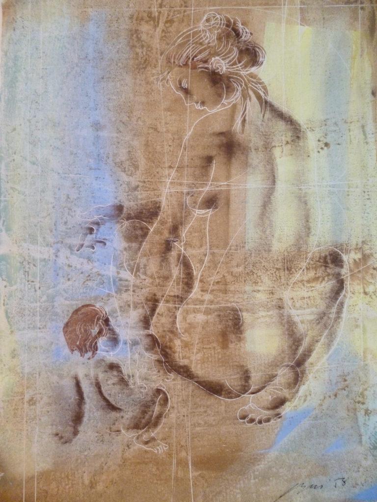 """Hans Erni: """"Mère jouant avec l'enfant """". Tempera auf Papier (32 x 50 cm). 1958. Aus Privatsammlung (Schweiz)."""