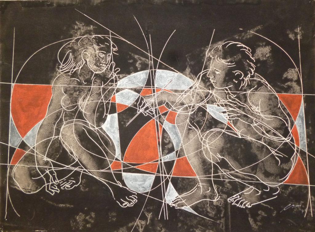 "Hans Erni: ""Kauerndes Paar"". Gouache auf Büttenpapier (38.5 x 52.5 cm). 1948. Aus Privatsammlung (Schweiz)."