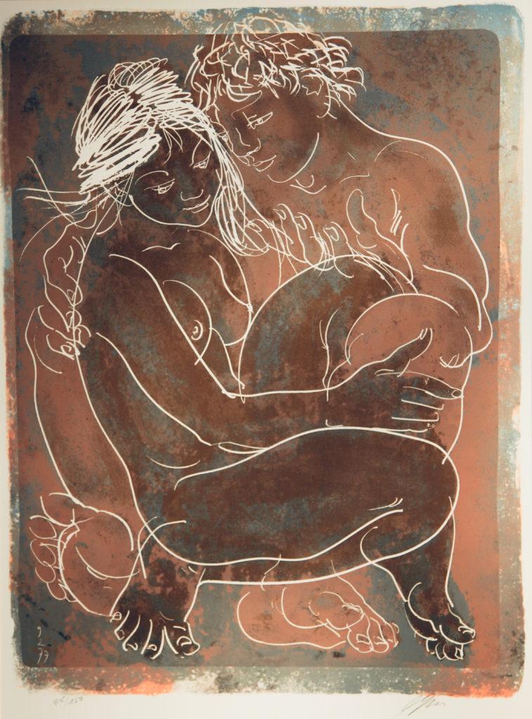 """Hans Erni: """"Daphnis und Chloë"""". Lithographie 35/150 (69.6 x 52.4 cm). 1977. Nr. 570 im Werkverzeichnis der Lithografien (Hans Erni-Stiftung, 1993). Aus Privatsammlung (Schweiz)."""