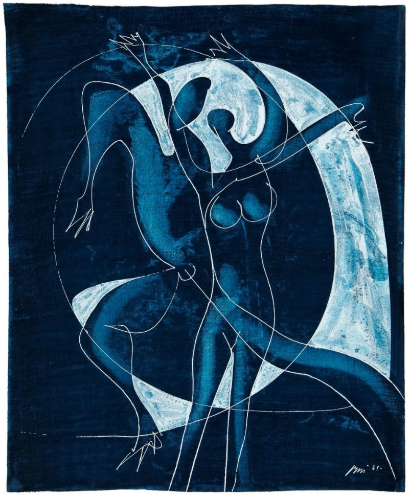 """Hans Erni: """"Tanzpaar"""". Gouache on Paper (47.5 x 38.5 cm). 1961. From private collection (Switzerland)."""