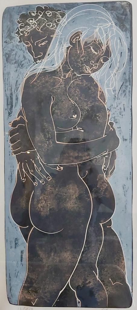 """Hans Erni: """"Paar, umschlungen"""". Lithographie 41/100 (79.7 x 34 cm). 1969. Nr. 450 im Werkverzeichnis der Lithografien (Hans Erni-Stiftung, 1993). Aus Privatsammlung (Schweiz)."""