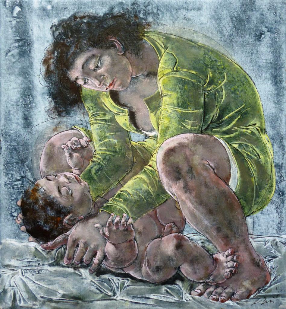 """Hans Erni: """"Mutter mit Kind"""". Tempera auf Leinwand (57.5 x 53 cm). 1981. Aus Privatsammlung (Schweiz)."""