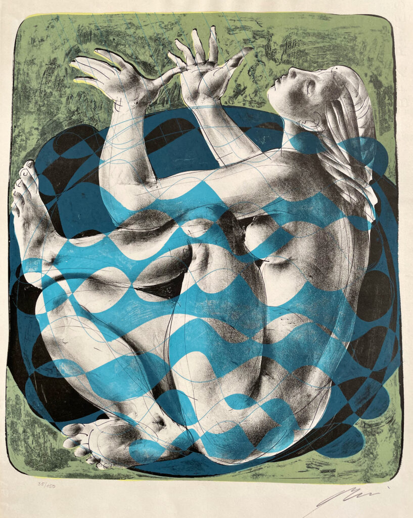 """Hans Erni: """"Badende"""". Lithograph 35/150 (47.7 x 39.7 cm). 1960. No. 321 in the catalogue raisonné of the lithographs (Hans Erni-Stiftung, 1993). From private collection (Switzerland)."""