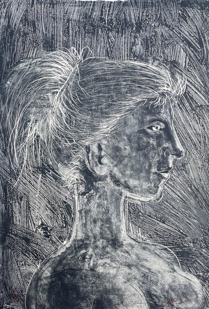 """Hans Erni: """"Junges Mädchen"""". Lithographie 23/200 (55.5 x 38 cm). 1954. Nr. 148 im Werkverzeichnis der Lithografien (Hans Erni-Stiftung, 1993). Aus Privatsammlung (Schweiz)."""