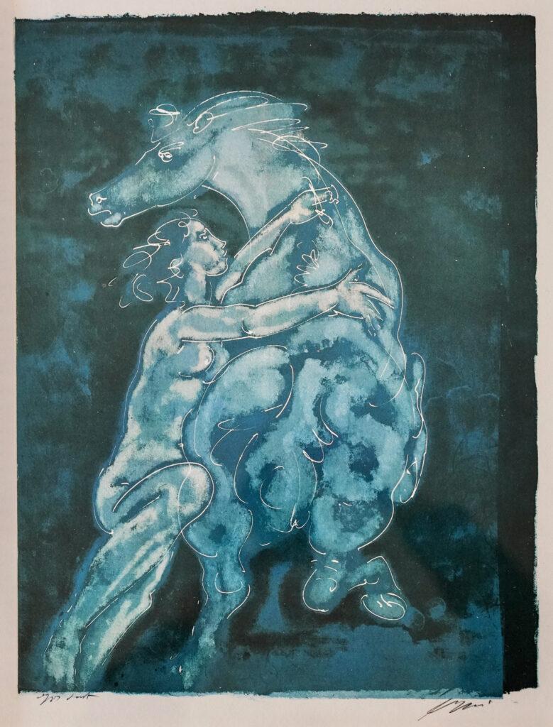 """Hans Erni: """"Reiterin"""". Lithographie mit Bezeichnung """"épreuve d'artiste"""" (72.4 x 54.7 cm). 1968. Nr. 454 im Werkverzeichnis der Lithografien (Hans Erni-Stiftung, 1993). Aus Privatsammlung (Belgien)."""