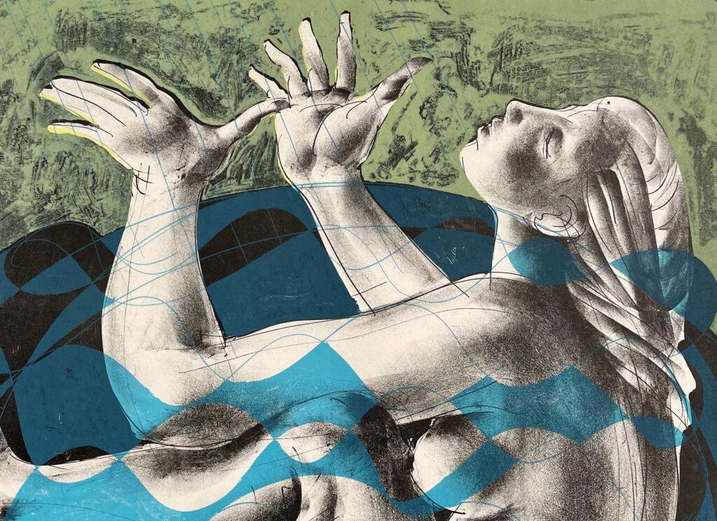 """Hans Erni: Ausschnitt aus """"Badende"""". Lithographie 35/150 (47.7 x 39.7 cm). 1960. Nr. 321 im Werkverzeichnis der Lithografien (Hans Erni-Stiftung, 1993). Aus Privatsammlung (Schweiz)."""